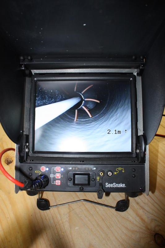 Putkiremontti - ruiskuvalu kamerasta nähtynä.
